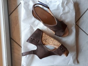100% Fashion Wedge Sandals bronze-colored-brown
