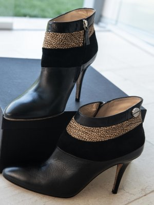 Booties black-sand brown leather