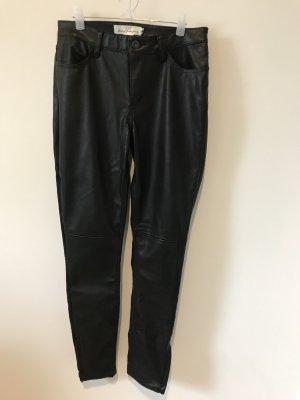H&M Pantalon en cuir noir polyester
