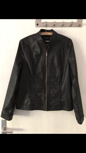 Faux Leather Jacket black-gold-colored cotton