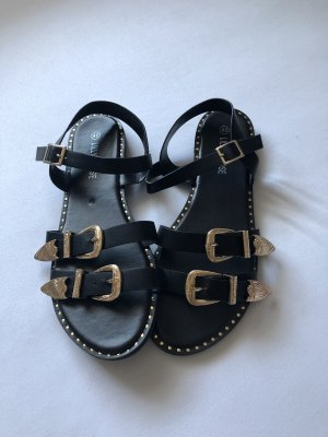 Roman Sandals black-gold orange