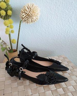NEUE schwarze, spitze Leder-Ballerinas mit Blumen von ZARA