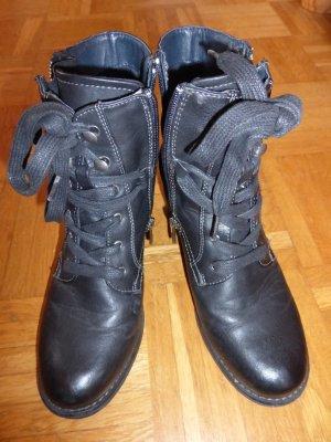 Tom Tailor Zipper Booties black imitation leather