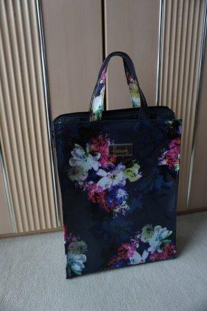 neue Shoppingtasche von Harrods London dunkelblau mit Blumen