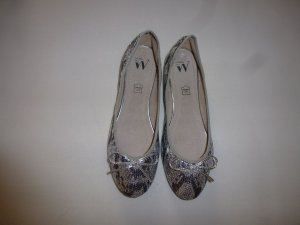 Ballerinas with Toecap silver-colored-anthracite leather