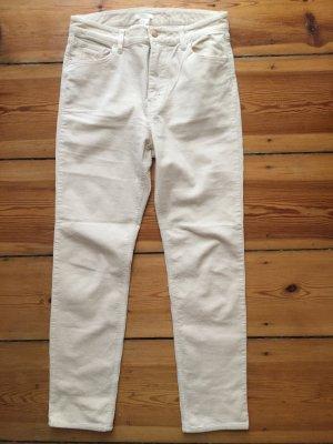 H&M Pantalon en velours côtelé blanc cassé coton
