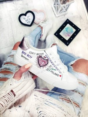 Neue Sneaker BLING BLING Schuhe LOVE Schnürschuhe Schnürsneakers Strass Blogger Freizeitschuhe Halbschuhe Sportschuhe 36
