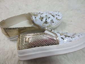 NEUE Sneaker, Laura Biagiotti, Gr. 37, Pajetten weiß/gold