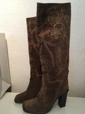 Neue Stiefel von baldinini in braun mit Gold Stickerei