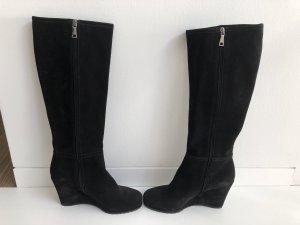 Neue Stiefel von Prada-Wildlederstiefel-Keilabsatz-Gr. 38-schwarz