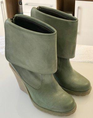 Wedge Booties khaki leather
