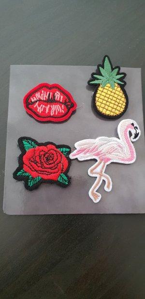 Neue Stoff Patches, mit Sicherheitsnadel, Ananas, Kussmund, Rose, Flamingo