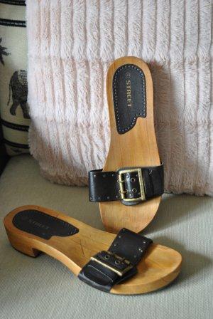 Clog Sandals dark brown wood