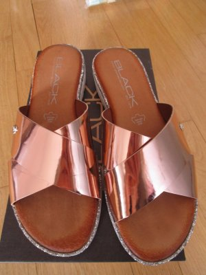 Heel Pantolettes pink-silver-colored leather