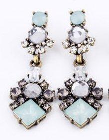 Neue stylische Vintage Chrystal Ohrringe Mint Silber Strass