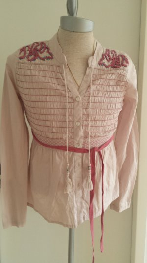 Neue süße Kaffe Dänmark Tunika Bluse Bestickt Quasten Rose Pink gr 34 S