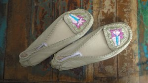 Buffalo Moccasins beige-sand brown leather