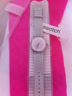 NEUE Swatch Uhr White Chrom Glittzer