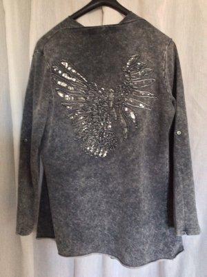 NEUE Sweat-Jacke mit silbernem Adlerprint auf dem Rücken