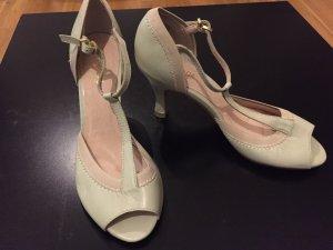 Taupage Zapatos de tacón con barra en T crema-menta
