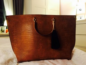 Neue Tasche congac Business Tasche beige Nude kroko