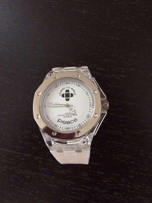 Neue Uhr mit weißem Armband mit der Aufschrift peace. Change the world Uhr.