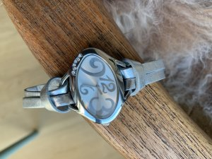 Watch With Leather Strap silver-colored leather