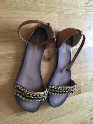 Neue und tolle Sandalen (gelb mit Leder und Strass) Gr. 40 (aus Italien)