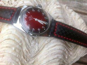 Reloj automático negro-rojo ladrillo metal
