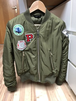 Topshop Bomber Jacket green grey polyester