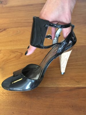 Neue VIA UNO Pumps High Heels schwarz Lack * 39