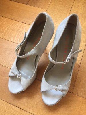 NEUE Walter Steiger High Heel Sandalette in wunderschönem, grauen Wildleder