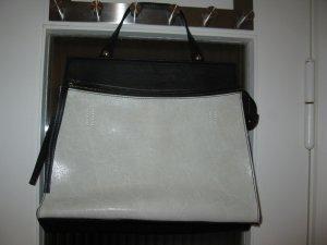 Neue weibliche Lederhandtasche in Ecru/Schwarz, Made in Italy