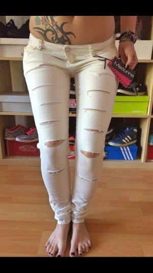Neue weiße Madonna Ripped-Jeans S
