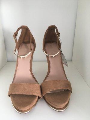 Bershka High-Heeled Sandals brown-beige imitation leather