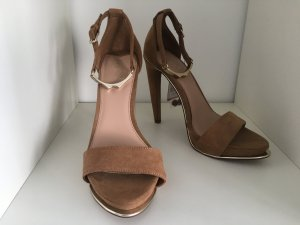 Bershka High-Heeled Sandals brown-beige imitation leather