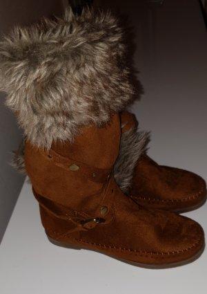 Botas de piel gris-marrón