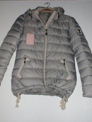 Neue Winter Daunen Steppjacke Kapuze Silver / Beige Größe M