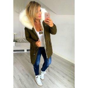 Neue Winter Parka Anorak Jacke Mantel Fell Fake Fur Kapuze Kunstfellkragen L-XL
