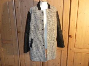 Neue Wolljacke für den Übergang von Asos mit Kunstlederärmeln Gr. 46