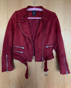 Neue Zara Bikerjacke aus Wildlederimitat | rot | Gr. M