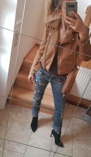Zara Veste en cuir synthétique marron clair