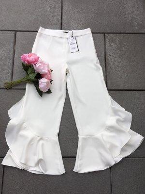 Neue Zara Culotte S 36 in weiß NP 49,95€ Volant Blogger