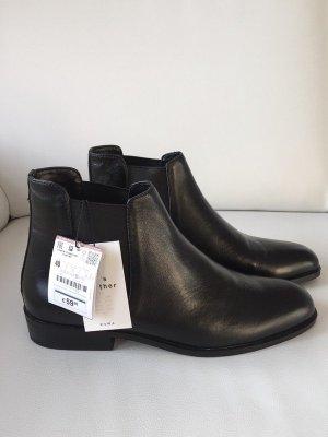 Neue Zara Leder Boots Stieflette | schwarz | Gr. 40