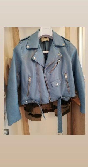 Neue Zara Lederjacke in Blau Größe S/36