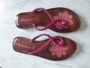 Tamaris Flip-Flop Sandals magenta leather