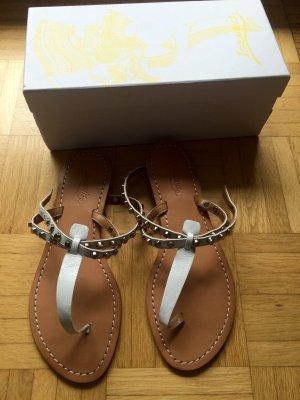 Sandalo toe-post bianco-argento