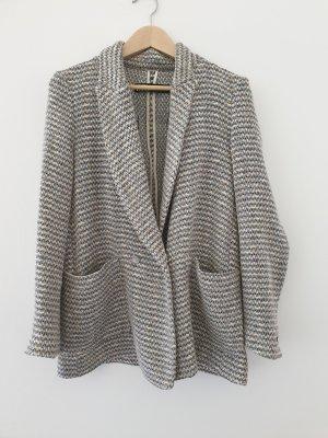 Zara Knitted Blazer light grey-cornflower blue