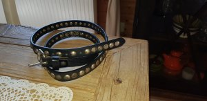 Studded Belt black-bronze-colored leather
