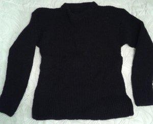 Pull à gosses mailles noir tissu mixte